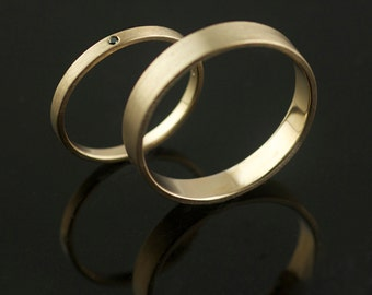 Hand Forged Recycled Gold Wedding Rings Black Diamond Handmade in Portland, OR