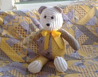 Yellow gray Teddy Bear modern baby decor