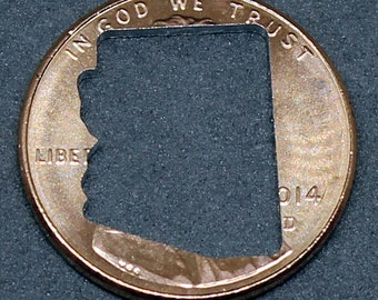 Lucky penny with Arizona cut out