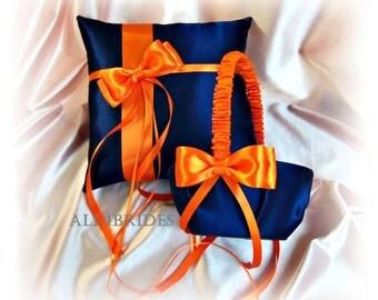 Wedding flower girl basket and ring bearer pillow navy blue and orange wedding decorations