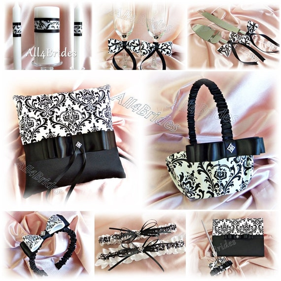 Madison Damask Wedding Ring Bearer Pillow, Flower Girl Basket, Candles, Garters, Guest Book, Pen, Flutes, Cake Set, 15Pc Black and White