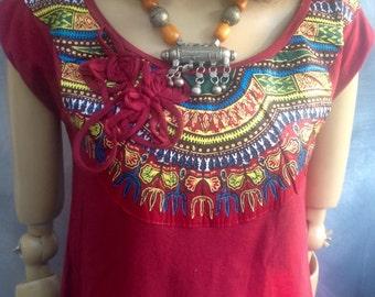 Annato red dashiki embellished dress size medium