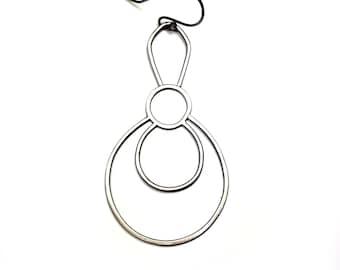 Single Earring, EAD2015 #46/365: Oxidized Silver Earring, Sterling Silver Dangle, Contemporary Asymmetric Earring, Large Earring