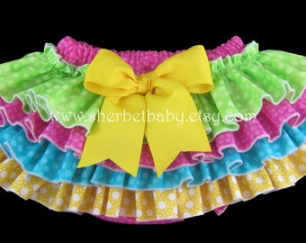 4 Ruffle Sassy Pants Ruffle Diaper Cover Bloomer Bright Rainbow