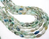 Raw Aquamarine Stone, Aquamarine Beads, Smooth Rice, 5mm x 13mm, SKU 4212A