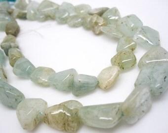 Aquamarine Nuggets, Aquamarine Beads, 8mm x 14mm, SKU 4237A