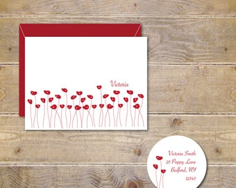 Personalized Note Cards, Thank You Cards, Personalized Stationery, Stationary, Stationery Set, Hostess Gift, Poppies, Red Poppies