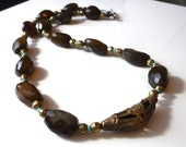 Carnelian and African bead necklace * tribal jewelry * statement necklace