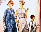 1960s Dress Pattern Misses Half size 12.5 Bust 33 Womens Cocktail Dress with Long Jacket Vintage Sewing Pattern