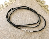 Delicate 1mm Black Silk Cord Necklace with Sterling Silver Ends and Clasp--Perfect for YOUR Small Charm