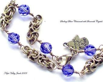 Blue Bracelet, sterling silver bracelet, chainmail bracelet with swarovski crstals,