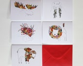 Pack of 5 Floral Beast Greeting Cards