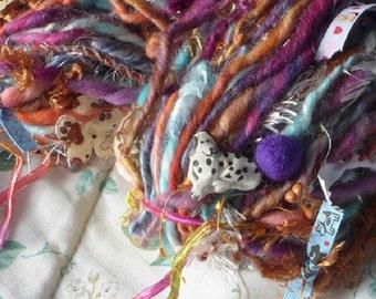 Handspun Art Yarn / Dog Lover gift / cute OOAK / You choose colors / pet scarf / Custom made by Fiber Artist GERRY