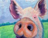 Pig - Pig Art - Pig Print - Paper - Canvas - Wood Block