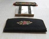 For LeeAnn. Schildkraut Petit Point 3 PC Set Compact Comb Case and Mirror - Vintage MOP Square Compact Set - Black Embroidered Vanity Set