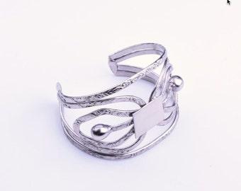 Wire Formed Silver Bracelet Cuff