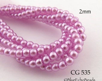 Tiny 2mm Czech Glass Pearls Pink Round (CG 535) 50pcs BlueEchoBeads