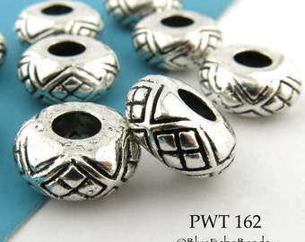 13mm Large Hole Pewter Rondelle Bead, Antique Silver (PWT 162) 6 pcs BlueEchoBeads