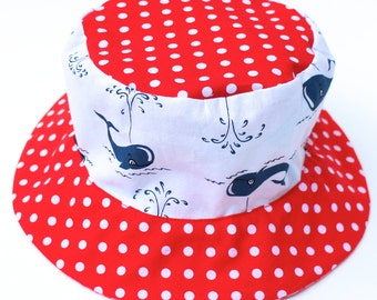 Girl's sun hat, bucket style with forest and flower theme, cute nautical print, red white and blue