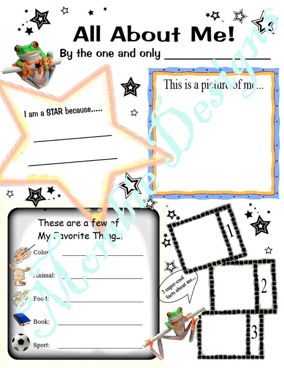 Coloring Page pdf Instant Download Kid Questionnaire About Me