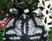 Quilted Ornaments Quilt Ball Ornaments Handmade Glitter Silver, Black Beaded Hanger Silver Charm