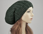 Hand knit hat - Oversized Chunky Wool Hat, slouchy hat in olive green - ready to ship