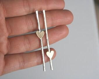 Heart Post Earrings, Bar Earrings, Silver Bar Earrings, Long Post Earrings, Off Set Hearts, Heart Earrings, Silver Heart Earrings, Brass