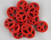 Red Magnesite 15mm Peace Sign Beads - 13 pieces - F13/14
