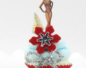 Santa Pin Up Girl Fake Cupcake. Secret Santa Sweeties Collection. Secret Santa Gift. 12 Legs Signature Design First on Etsy