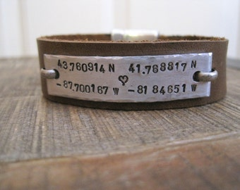 Hidden Message Personalized Mens Bracelet- Custom Message Inside and Out- Leather and Aluminum Bracelet