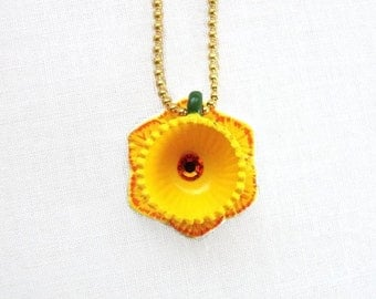 Yellow Daffodil Flower Teacup Necklace