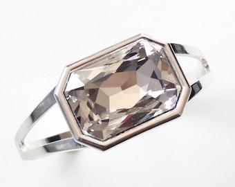 Clear crystal cuff bracelet - created with Swarovski crystal - crystal bracelet - large crystal bracelet - crystal cuff