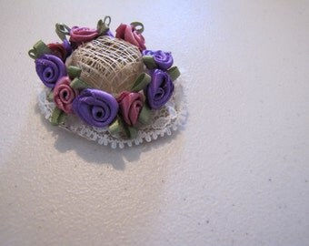 victorian style dollhouse doll hat  in purple, burgandy and lace
