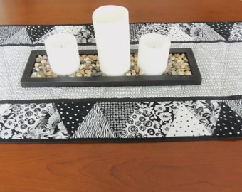 Black and White  Quilted Table Runner