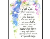 Christian Bible Sympathy Card in Calligraphy and Watercolor, 5x7 Scripture Sympathy