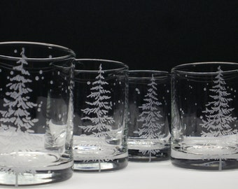 4 'Fir Tree and Floating Flakes' Candle Holders Hand Engraved Winter Wedding Party Favors Holiday Home Decor