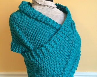 Turquoise Knit Vest - Knit Wrap - Knit Sweater Vest - Vest - Shrug - Knit Shrug - Turquiose - Shoulder Wrap - Cowl - Christmas Gift