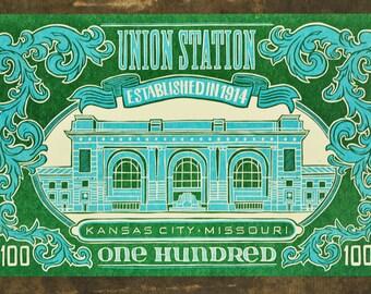 Kansas City Union Station Centennial Limited Edition Letterpress Linocut Print