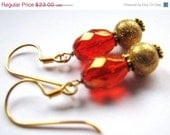 Holiday Red Crystal Earrings, Red AB Celestial Crystals, Gold Stardust Beads, 24k Gold Vermeil, Handmade Gift, FREE SHIPPING