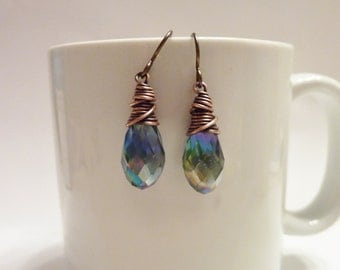 Copper Wire Wrapped Mystic Blue Crystal Briolettes
