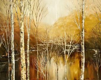 Hand embellished giclee print on CANVAS of original landscape painting textured stretched birch trees forest water autumn - by Iliina