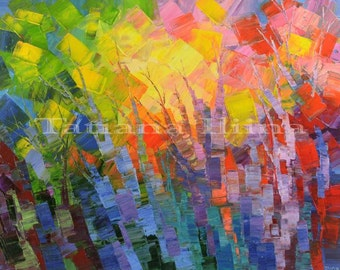 Abstract Forest Painting Palette Knife Art Handmade Original Trees blue purple red orange yellow pink - by Tatiana Iliina - Made to order