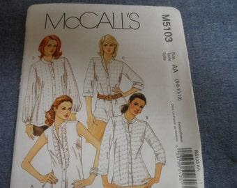 McCalls 5103 Misses Blouse Shirt Top Pattern Sizes 6-8-10--12
