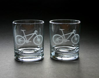 Cycling Etched Glasses Engraved Bicycle Low Ball Rocks Glasses Mountain Bike