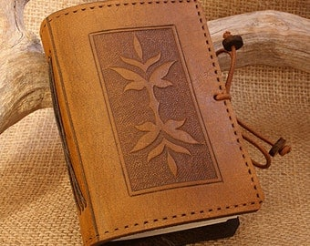 A7, Mini, Leather Bound Journal, Art Nouveau Leaf Journal, Brown Leather, Leather Notebook, Edwardian Diary, Pocket Notebook, Personalised.