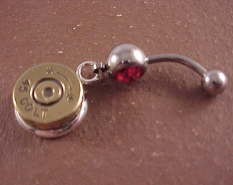 Belly Ring with 45 Colt Bullet Charm