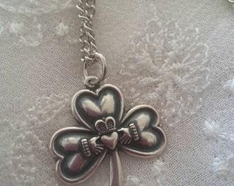 Silver Irish Shamrock Claddagh Love Friendship Necklace
