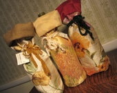 Floral Wine Gift Wrap Bags-  Set of Three