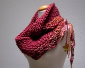 autumn in the adirondacks. handknit infinity scarf . chunky knit wool cowl loop scarf shrug . barn red fall leaves ochre rust burgundy