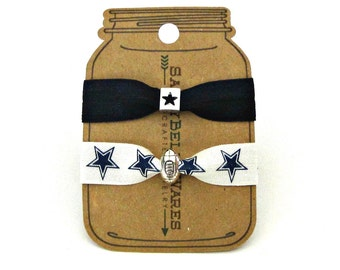 Football and Stars Knotted Elastic Hair Tie Bracelet No Crease Ponytail Holder navy blue white gameday game day chic sports mom accessory